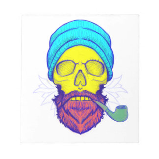 Yellow Skull Smoking Pipe. Notepad