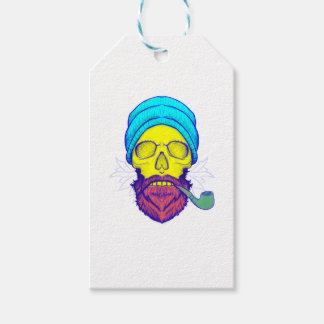 Yellow Skull Smoking Pipe. Pack Of Gift Tags