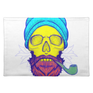 Yellow Skull Smoking Pipe. Placemat