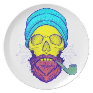 Yellow Skull Smoking Pipe. Plate