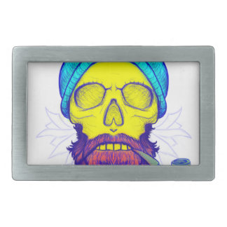 Yellow Skull Smoking Pipe. Rectangular Belt Buckle