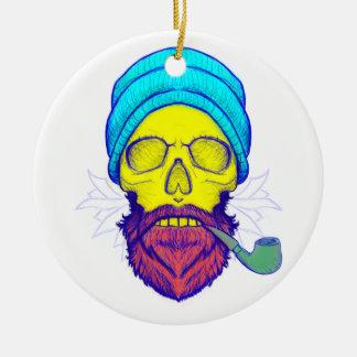 Yellow Skull Smoking Pipe. Round Ceramic Ornament