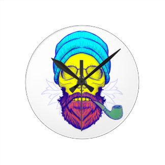 Yellow Skull Smoking Pipe. Round Clock