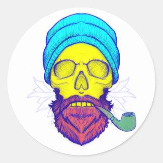 Yellow Skull Smoking Pipe. Round Sticker