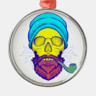 Yellow Skull Smoking Pipe. Silver-Colored Round Ornament