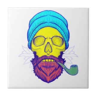 Yellow Skull Smoking Pipe. Tile