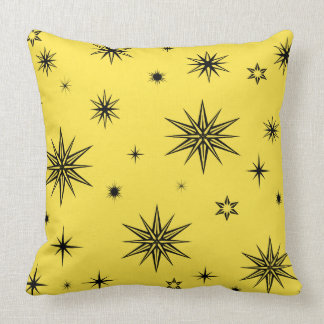 Yellow sky with black stars throw pillow