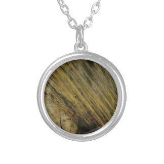 yellow slashes in the rock silver plated necklace
