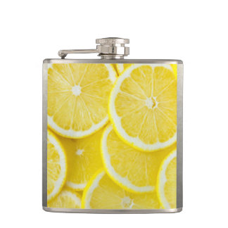 Yellow Slice Lemons Hip Flask