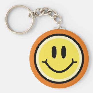 Yellow Smile Basic Round Button Keychain