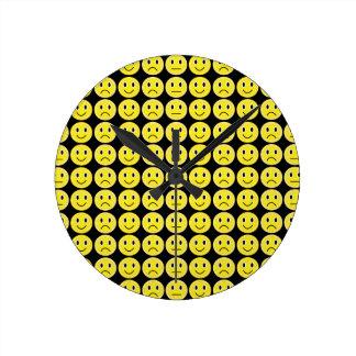 Yellow smiles round clock