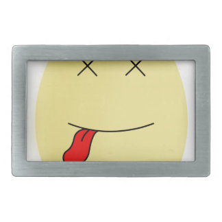Yellow smiley egg face dead inside rectangular belt buckle