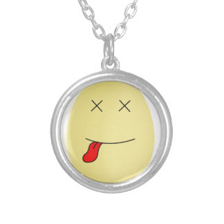 Yellow smiley egg face dead inside silver plated necklace