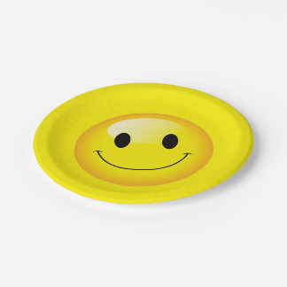 Yellow Smiley Face Happy Birthday Emoji Party Paper Plate