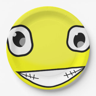 Yellow Smiley Face Laugh Emoticon Birthday Party 9 Inch Paper Plate