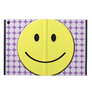 Yellow Smiley Face on Purple Polka Dots iPad Air Covers