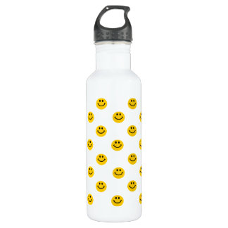 Yellow Smiley Face Pattern 710 Ml Water Bottle