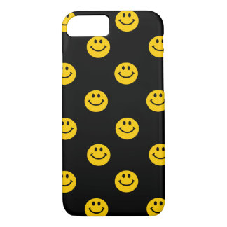 Yellow Smiley Face Pattern on Black iPhone 7 Case