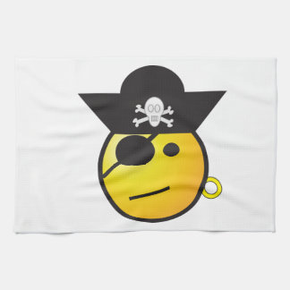 Yellow Smiley Face Pirate w/ Hat, Earring, & Patch Hand Towels