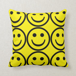 Yellow smiley face throw pillow