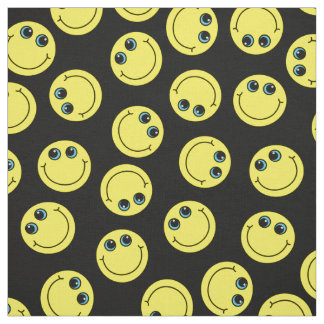 Yellow Smiley Faces Choose Background Color Fabric