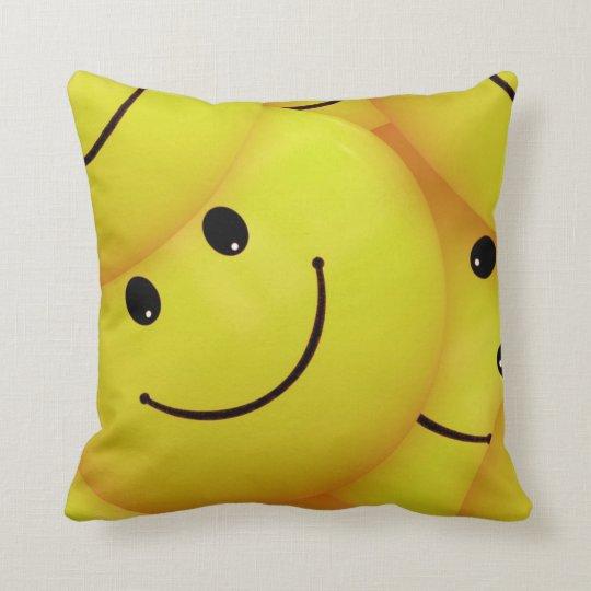 Yellow Smiley Faces Throw Pillow