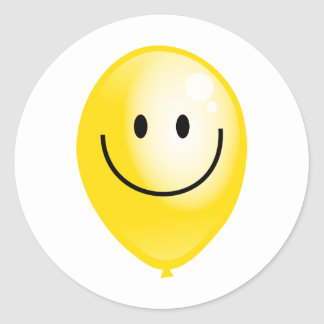 Yellow Smilie Balloon Classic Round Sticker