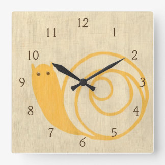 Yellow Snail on Cream Background Square Wall Clock