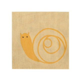 Yellow Snail on Cream Background Wood Wall Decor