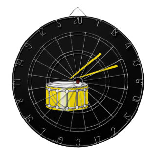 yellow snare graphic with sticks dart boards