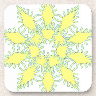 Yellow snowflake icon graphic on black background. coaster