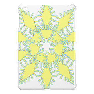 Yellow snowflake icon graphic on black background. iPad mini covers
