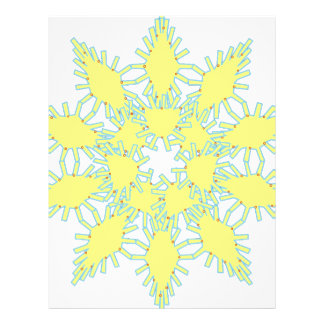 Yellow snowflake icon graphic on black background. letterhead