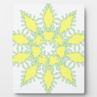 Yellow snowflake icon graphic on black background. plaque