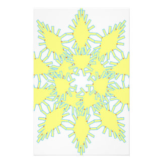Yellow snowflake icon graphic on black background. stationery