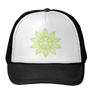 Yellow snowflake icon graphic on black background. trucker hat