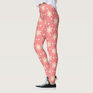 Yellow Snowflakes and Snow w/Pink Leggings