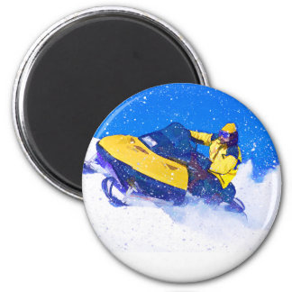 Yellow Snowmobile in Blizzard 2 Inch Round Magnet