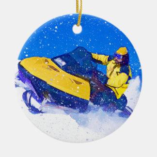 Yellow Snowmobile in Blizzard Ceramic Ornament