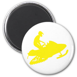 Yellow-Snowmobiler 2 Inch Round Magnet