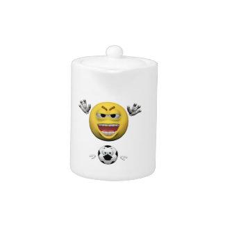 Yellow soccer emoticon or smiley