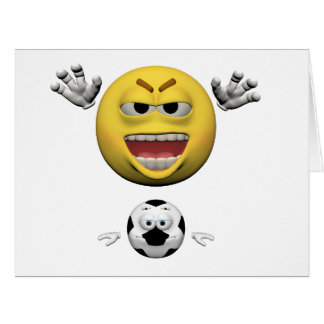 Yellow soccer emoticon or smiley card