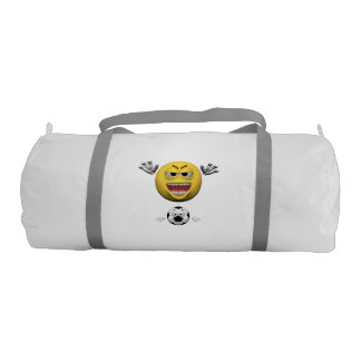 Yellow soccer emoticon or smiley gym bag