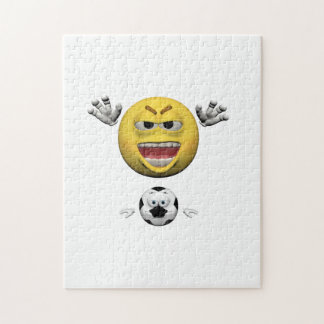 Yellow soccer emoticon or smiley jigsaw puzzle