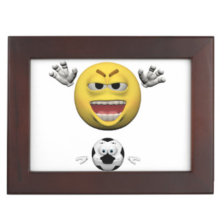 Yellow soccer emoticon or smiley keepsake box