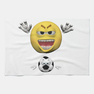 Yellow soccer emoticon or smiley kitchen towel