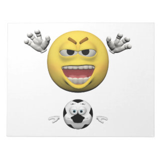 Yellow soccer emoticon or smiley notepad