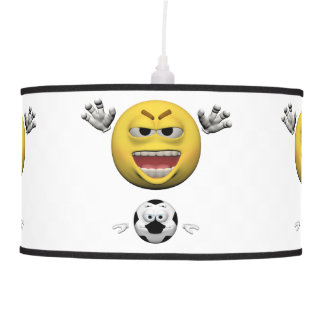 Yellow soccer emoticon or smiley pendant lamp