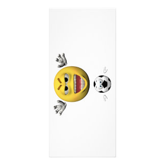 Yellow soccer emoticon or smiley rack card