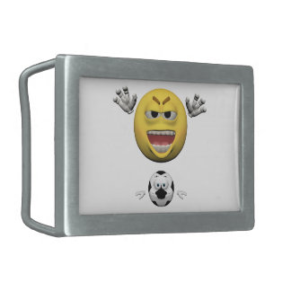 Yellow soccer emoticon or smiley rectangular belt buckle